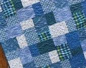 ON SALE Blue & Green Baby Boy Quilt Modern Handmade Crib Blanket Nursery Bedding