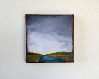 Original oil painting, river landscape, stormy sky, thunderstorm clouds - Stormscape series sixty