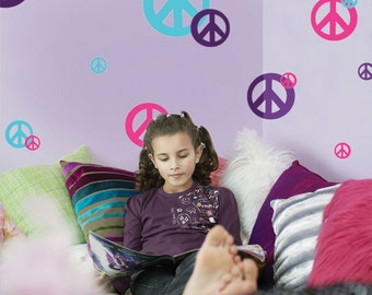 Girls Wall Decals, Kids Wall Decals, Peace Sign Vinyl Wall Stickers