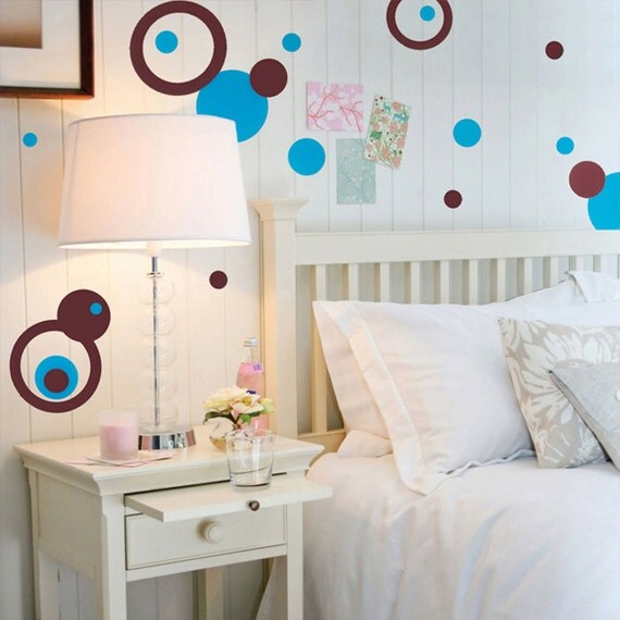 Circle dot wall decals in teal and brown vinyl designs for Polka dot bedroom designs