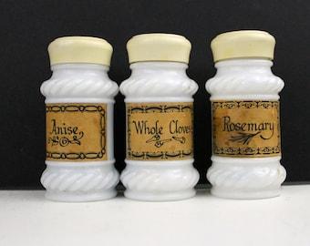 Milk Glass Spice Jars 3