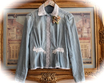 Boho Prairie Denim Shirt Cowgirl Chic Rodeo Sweetheart One Of  a Kind Southwest Fashion