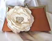 Copper Bronze Satin Front Frame Clutch with Ivory Satin and Chiffon Fabric Flower and  Gorgeous Rhinestone Aurora Borealis Heart  Accent