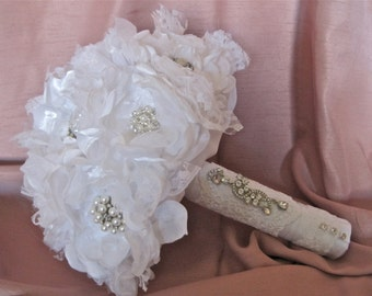 Bridal Bouquet Elegant Winter White  Fabric Flower Brooch Bridal Bouquet with Rhinestone and Pearl Brooches Custom Made to Your Colors