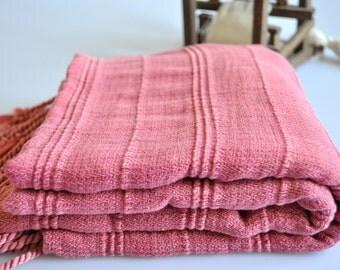 Peshtemal Towel Turkish Towel Cotton Peshtemal Stonewashed Rose Pink Towel, genuine handloomed