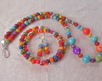 SALE!   21 Inch Colorful Graduated Stone Casual Necklace with Earrings and Bracelet