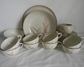 Vintage Winfield Ware China Dragon Flower Dinnerware Serving Pink Gray