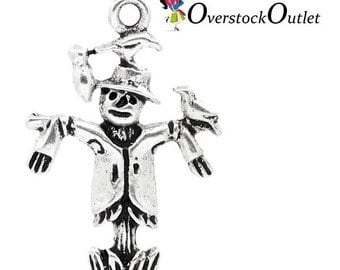 4 Antiqued Silver Scarecrow Charm - 4 Charms - AF402