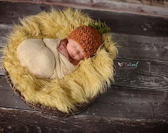 Newborn Rustic Speckled Pumpkin With Leaf and Vines Crochet Hat Photo Prop