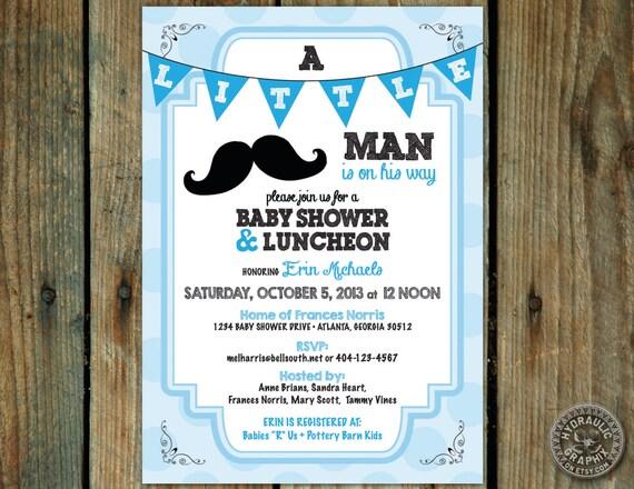 baby shower invitation mustache baby shower theme little man theme