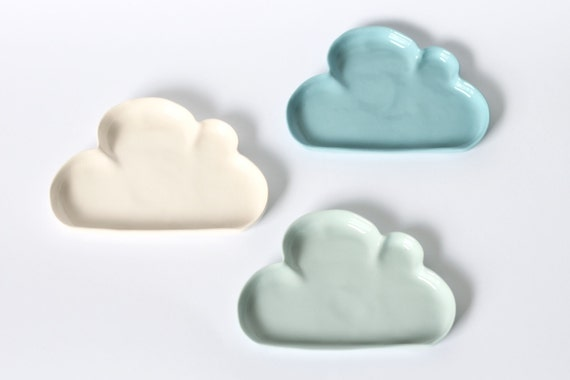 porcelain 'cloudy' dish : trinket plate