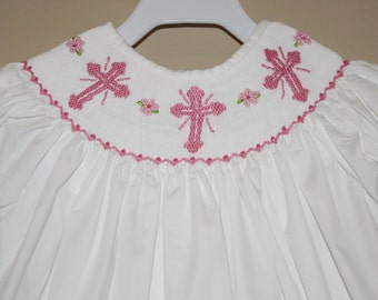White Easter Smocked Bishop Dress with Pink Crosses