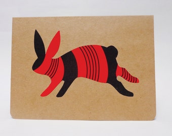 Illustrated Rabbit Note Card