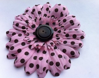 Pink and Brown Polka Dot Gerber Daisy Flower Clip - Perfect Gift for Little Girl - CLEARANCE