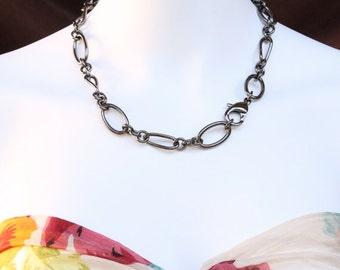Rocker Necklace. Chunky gunmetal chain necklace.