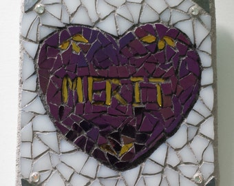Mosaic Purple Heart Merit Gold White Stained Glass military reward George Washington conservative fine art patriot honor award