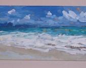 "Original painting ""Sunny Somewhere"", 12' X 24"", Ocean, Beach, Coastal, Modern, Ocean scene"