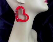 Heart Resin Lucite Confetti Earrings