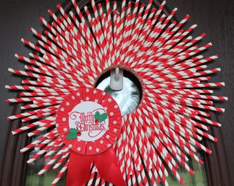 Christmas Wreath, Paper Straw Wreath, Merry Christmas, red & white, candy cane stripe, 16 inches, MADE TO ORDER
