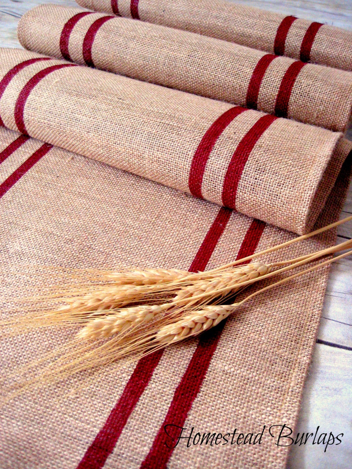 burlap table runner with red hand painted grain sack stripes. Black Bedroom Furniture Sets. Home Design Ideas