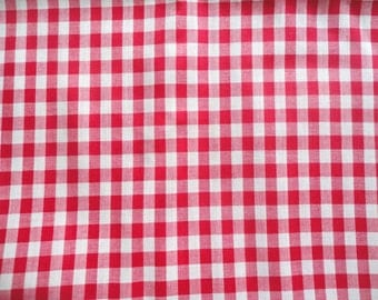 red and white gingham check vintage cotton blend fabric -- 45 wide by almost 2 yards