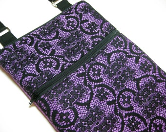 Black lace purple cross body purse sling bag adjustable strap shoulder vacation travel wallet hobo hipster shopping small