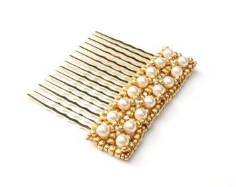Hair Comb, Gold with Cream Swarovski Pearls, Gold Beads, Hair Accessory, Wedding Hair Accessory