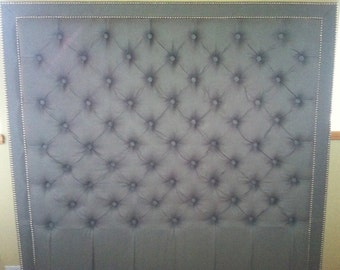 Diamond Tufted Belgian Linen Headboard with Double Nailhead Border (Queen, Tall)