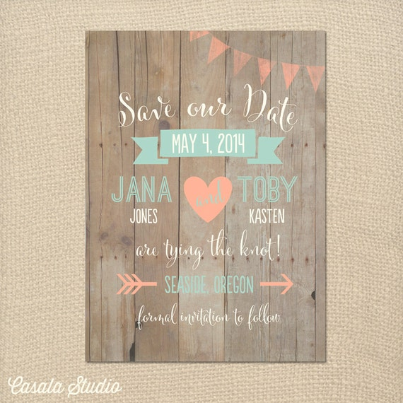Whimsical Rustic Wood Mint and Peach Save the Date Wedding Announcement Invite Printable OR Printed Card