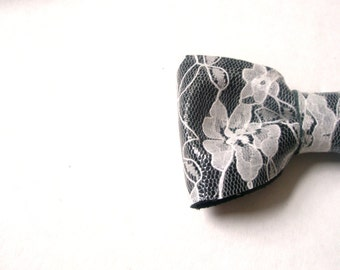 Lace bow -Grey Leather Bow- printed lace on the leather-  CHOOSE - headband, hair clip, comb, brooch  with Hair Clip , Pin