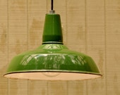 Hanging Industrial Light - Vintage Upcycled Green Industrial Pendant Lamp Xtra Large
