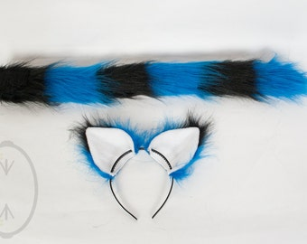 Blue & Black Striped Cat Skinny Tail and/or Ears Set, Combo, Costume