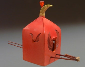Crested Birdshrine 2170 • hanging bird feeder • garden art • yard art •  bird feeder • birdfeeder • patsy thola • patsy chamberlain