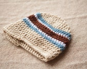 Crochet Baby Brimmed Newsboy Hat Striped -- You Choose Colors