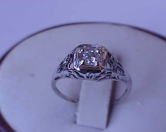 Antique  Art Deco 14k White Gold Engagment .20ct  Brilliant  Cut  Diamond  Filigree Ring  ,1920's