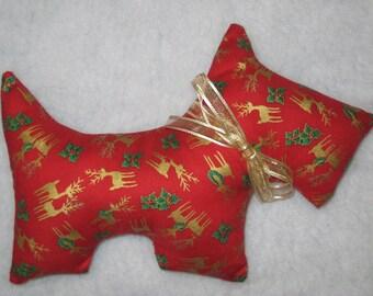 Christmas Scottie Dog Plush / Red Christmas Dog / Scottie Dog Pillow / Christmas Gift / Baby Shower Gift / Bedtime Buddy