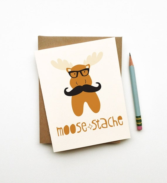moose-stache moose mustache doodle card hipster totem animal in glasses