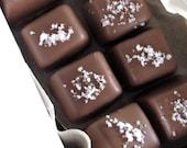 Chocolate Covered Caramels Fleur de Sel Salt Artisan Candy Homemade Dipped Enrobed 8 Oz.