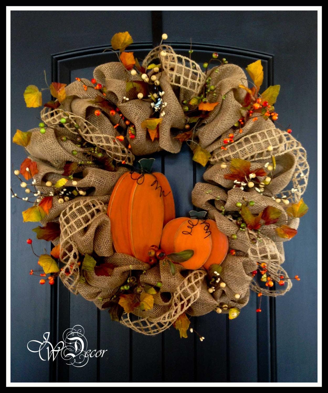 Fall Burlap Wreath Large Autumn Wood Pumpkins Burlap