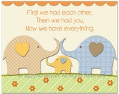 Nursery art, kids wall art, nursery art print, childrens room decor, elephants, first we had..