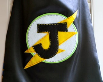 Superhero Cape-PERSONALIZE BLACK Boys Superhero Costume - Choose the Initial - Superhero Birthday Party