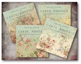 """Digital Images - Digital Collage Sheet Download - Floral Carte Postale 3.8"""" Cards -  372  - Digital Paper - Instant Download Printables"""