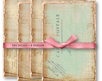 Digital Collage Sheet Download - Vintage Shabby Postcards -  839  - Digital Paper - Instant Download Printables