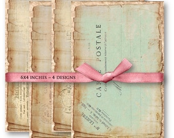 Digital Images - Digital Collage Sheet Download - Vintage Shabby Postcards -  839  - Digital Paper - Instant Download Printables