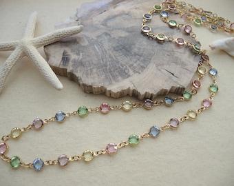 Swarovski Necklace, Swarovski Crystal Multi Color, 14K Gold Filled Bezel Set Long Necklace 2 Ways, Bezel Necklace, Jewelry Gift For Her