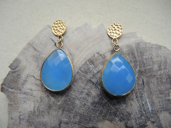 SALE Blue Agate Earrings (Blue Agate With 18K Vermeil Bezel Earrings) Drop Earrings Gem Stone Earrings  Agate Studs Vermeil Post Earrings
