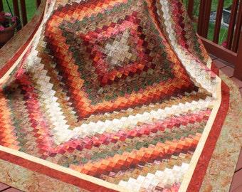 "Queen Handmade Quilt ""Trip Around the World"" Earth Tone Batiks - Handmade quilt-"