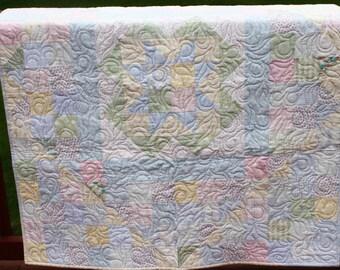 "Baby Quilt- Crib Quilt- ""My Star"" Pastel Handmade Baby Quilt"