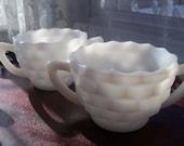 TWO Milk Glass Sugar Bowls Hazel Atlas Opaque Cube Early American Style Cubist