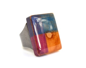 Geometric wood statement ring, Stained wood statement ring, square statement ring, Starlight woods, Eco friendly jewelry,
